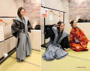 Dancers Michelle Lian (left) and Jessica Si discover some traditional Japanese clothing and can't pass up the opportunity to give them a try.
