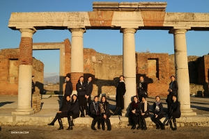 The performers pose amongst ancient Roman ruins after 4 sold-out performances in Naples at the Teatro di San Carlo.