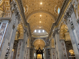 The group checks out the interior of St. Peter's Basilica. This is Renaissance architecture at its finest.