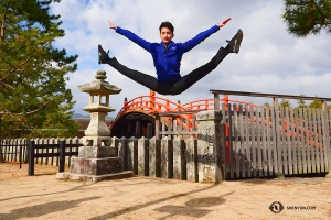 Stanley Lin gets great height jumping from a sidewalk—no trampoline required!
